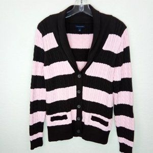 Tommy Hilfiger Pink Striped Cable Knit Sweater L